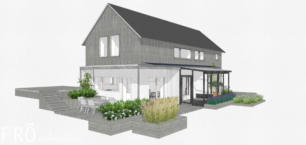 Alternativ två är ett tvåplanshus med platta på mark i souterräng.