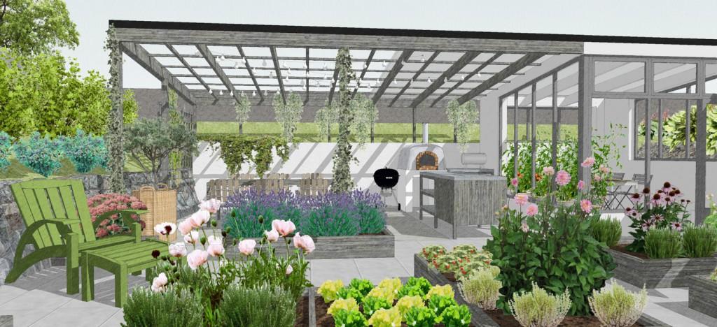 Uteköket har tak och matplatsen pergola. Om det regnar kan man sitta och äta i växthuset.